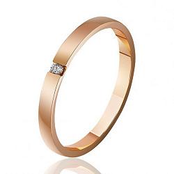 Обручальное кольцо из красного золота с бриллиантом 000001615