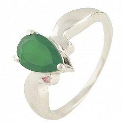 Серебряное кольцо Новелла с зеленым агатом