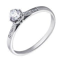 Помолвочное кольцо в белом золоте с бриллиантами 000070611