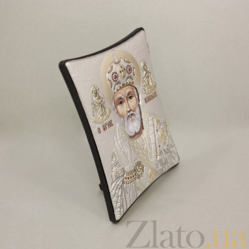 Православная икона Святой Николай Чудотворец на основе под дерево, гальванопластика, 8х9см 000094173