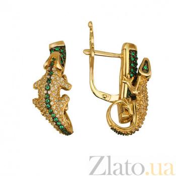 Серьги из желтого золота с фианитами Ящерица VLT--ТТ2215-1