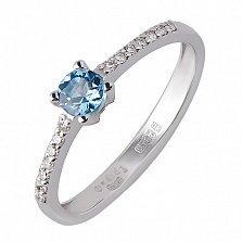 Кольцо из белого золота Сила природы с голубым топазом и бриллиантами