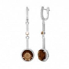Серебряные серьги Алина с раухтопазом и фианитами