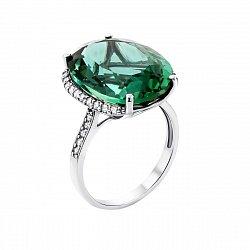 Серебряное кольцо с зеленым кварцем и фианитами 000121474