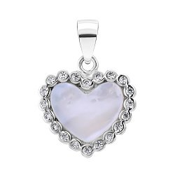Серебряная подвеска с перламутром и цирконием 000132638