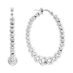 Серебряные серьги-конго с шариками, 30мм 000136121