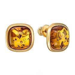Серебряные серьги-пуссеты с янтарем и позолотой 000137564