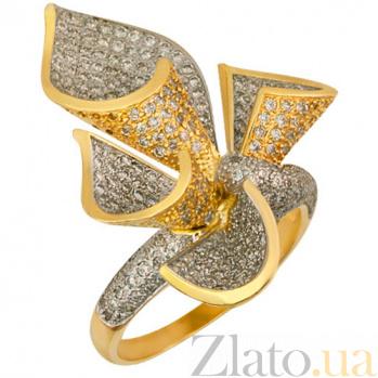 Кольцо из желтого золота Жабо с белыми фианитами VLT--ТТ170-2