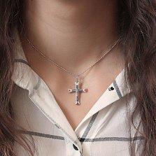 Серебряный крестик Независимость с синей, красной и белой эмалью
