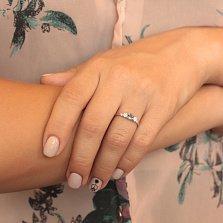 Серебряное кольцо Танита с лондон топазом и фианитами