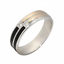 Серебряное кольцо с золотой вставкой и фианитами Виола