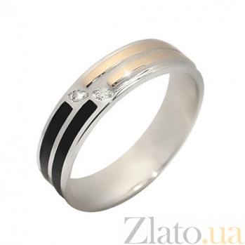 Серебряное кольцо с золотой вставкой и фианитами Виола BGS--667к