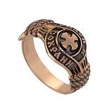 Золотое кольцо с чернением Спаси и Сохрани