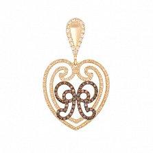 Золотая подвеска Сердце с фианитом