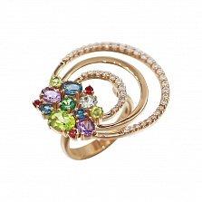 Кольцо в красном золоте Вивиен с аметистами, разноцветными топазами, хризолитами и фианитами