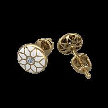 Золотые серьги-пуссеты Алатырь с белой эмалью и бриллиантами