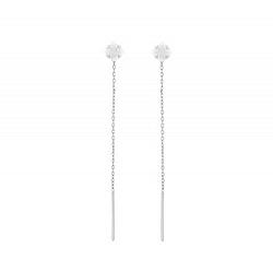 Серебряные серьги-подвески Мирта с белыми фианитами
