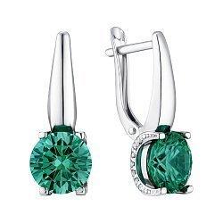 Серебряные серьги с синтезированным зеленым кварцем и фианитами 000149197