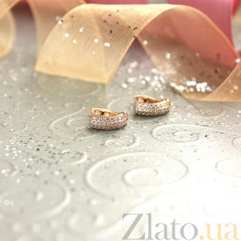 Золотые серьги с фианитами Нинель SUF--110317