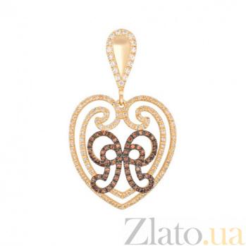 Золотая подвеска Сердце с фианитом VLT--ТТТ3476