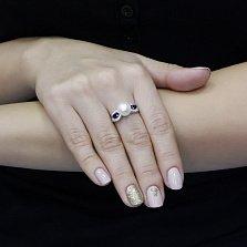 Серебряное кольцо Томасина с жемчугом, синтезированным сапфиром и фианитами