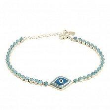 Серебряный браслет Глаз Фатимы с имитацией бирюзы и цветной эмалью