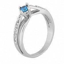 Серебряное кольцо с голубым фианитом Балет