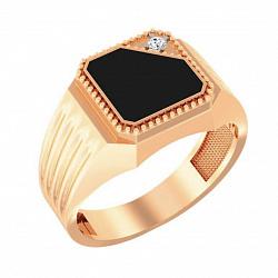 Золотой перстень-печатка Виндзор с цирконием и черной эмалью