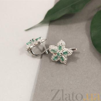 Серебряные серьги с бриллиантами и изумрудами Прага ZMX--BLDE-1008-Ag_K