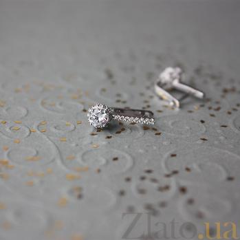 Золотые серьги с фианитами Истинная любовь в белом цвете 000023096