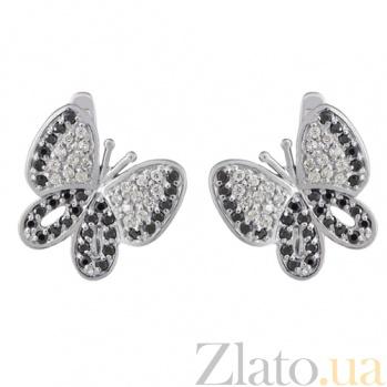 Серьги в белом золоте Бабочки с фианитами 000022797
