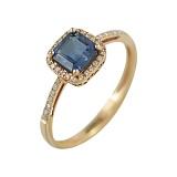 Золотое кольцо с сапфиром и бриллиантами Энергия океана