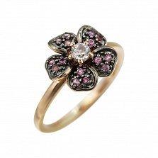 Кольцо из красного золота Анемона с лейкосапфиром и розовыми сапфирами