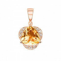 Кулон из красного золота с цитрином и фианитами 000122205