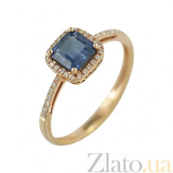 Золотое кольцо с сапфиром и бриллиантами Энергия океана 000026864