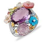 Золотое кольцо с аметистами, бриллиантами, перламутром и бирюзой Весенний букет