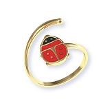 Золотое кольцо с цветной эмалью Божья коровка