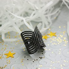 Серебряное кольцо Магнетизм с черным родием и черными фианитами