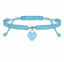 Детский голубой браслет Сердце, плетеный с cеребряной подвеской, фианитом и эмалью, 10х20см