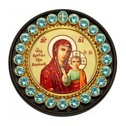 Автомобильная серебряная икона на дереве Казанская Богородица с фианитами, эмалью и позолотой