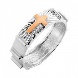 Серебряное кольцо с золотой накладкой 000115973