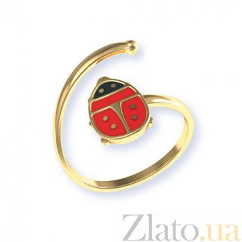 Золотое кольцо с цветной эмалью Божья коровка TNG--300371Е