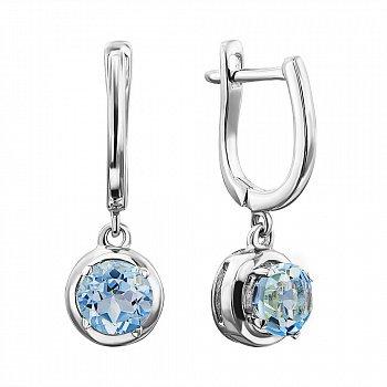 Срібні сережки-підвіски з блакитними топазами 000137583