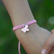 Детский плетеный браслет Бабочка с эмалью и фианитами, 10-20см