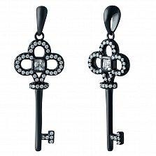 Серебряный кулон-ключ Сказочный город с фианитами и черным родием