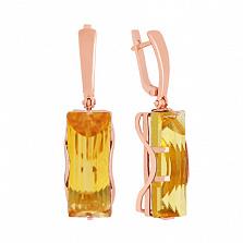 Серьги из красного золота с цитрином Хищница