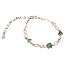 Серебряный браслет Сандра с зелеными фианитами и позолотой
