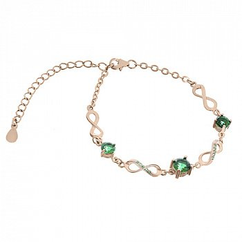 Серебряный браслет Сандра с зелеными фианитами и позолотой 000033797
