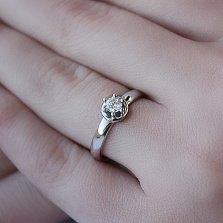 Золотое кольцо Аллен в белом цвете с бриллиантом
