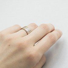 Золотое тройное кольцо Амстердам с фианитами